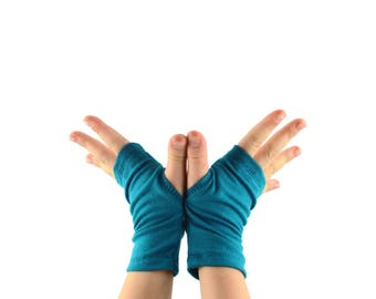 Toddler Kids Arm Warmers in Teal Blue - Fingerless Gloves