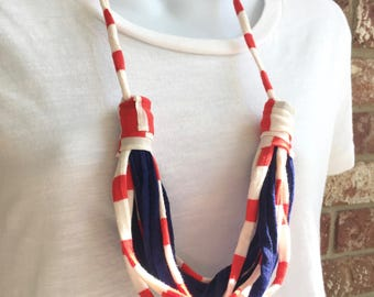 Orange and Navy Fabric Necklace, Fabric Statement Necklace, Tshirt Yarn, Upcycled Jewelry, Repurposed Jewelry