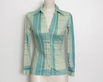 1970s Futuristic Shirt / Geometric Patterned Print Nylon Button-down / 70s Vintage Disco Top
