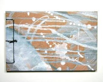 Artist's Sketchbook, Silver Drips, Stab Bound with Up Cycled Materials and Hand Painted Cover