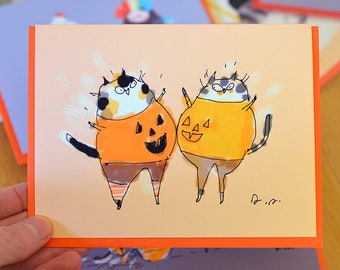 Funny Halloween Card - Cat - Pumpkie Bump - Belly Smack Cats - Halloween Cat Card by The Dancing Cat