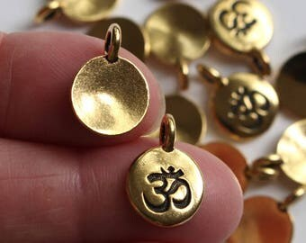 Gold Om Charms, 2+ TierraCast Antiqued & Plated, Small Meditation Yoga Pendants, Lead Free Pewter, Eastern Religion Aum Mantra