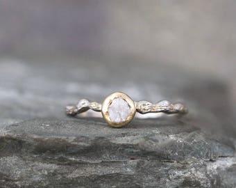 Twig Raw Diamond Engagement Ring  - Tree Branch Rings - Uncut Rough Diamond - Sterling Silver & 14K Yellow Gold Bezel Set Rings