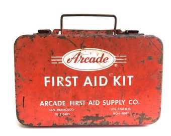 Vintage Industrial First Aid Kit~ Cherry Red ~ Arcade First Aid case ~Vintage medical doctors office~ Wall mounted medical decor