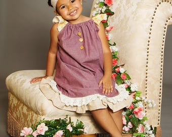 Fall Vintage Collection Lace trim Flutter Sleeve ruffled  Peasant Dress - toddlers and girls sizes 2t up to girl 10