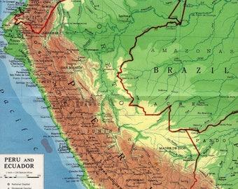Ecuador Map Etsy - Map of ecuador south america