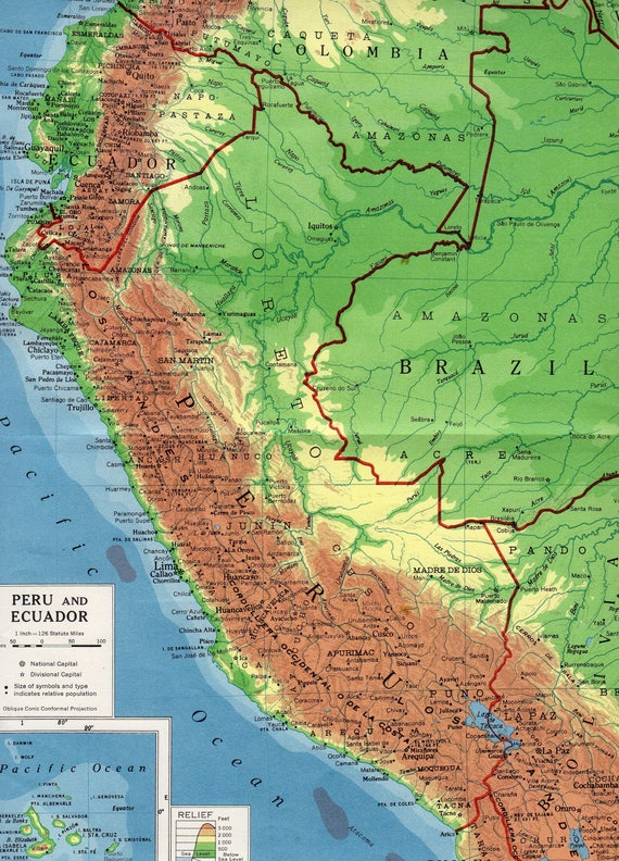 Peru Ecuador Map Vintage Map Of South America S Relief - South america relief map peru