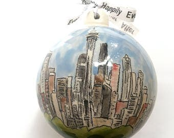 Custom personalized couples first Christmas engagement gift wedding ornament from photo handmade by Cathie Carlson