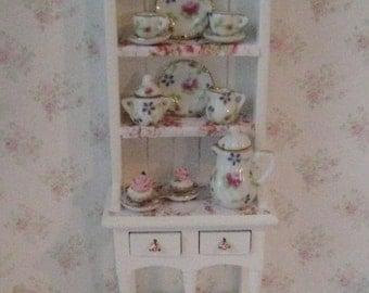 Dollhouse Filled Hutch,Dollshouse  Hutch, Miniature hutch, Tea for Two, Rose theme.  . Twelfh scale dollhouse miniature