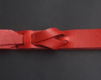 Red Skinny Leather Belt  by Muse 1 inch / FREE Shipping