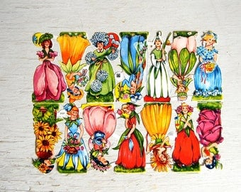 Vintage EAS German Paper Scrap Flower Fairies | West Germany Die Cut Scrap | Diecut Scrap | Paper Flower Girls | EAS 3101