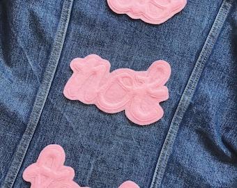 Do Not Touch Patch Cursive Font Sew On Badge Felt Applique Embellishment Pink Denim Jacket Patch