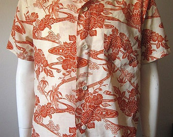 Vintage 70s Men's Asian Print Button Down One Pocket Shirt Size Large / Women's XL