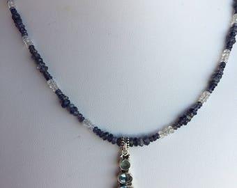 Necklace — Blue Topaz in Sterling Pendant, Iolite, Aquamarine