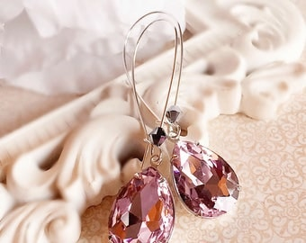 Victorian Earrings - Pink - Jewelry Gift - Crystal Earrings - SOMERSET Pink
