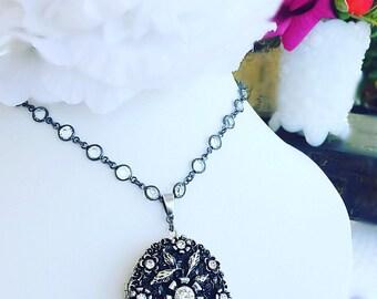 Locket Necklace - Silver - Flower Locket - Victorian - VICTORIAN Signature Locket