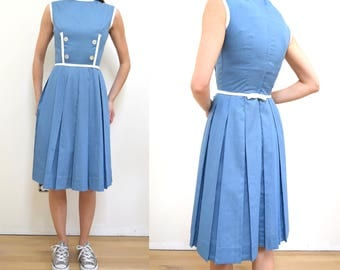 Vintage 50s XS Dress // blue and white double breasted 1960s 1950s 60s MOD knee length extra small // pleated skirt metal zipper