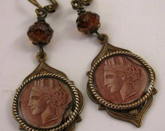 Postage Stamp Jewelry - Resin Jewelry - Vintage ITALY Stamp Earrings - Antique Brass & Brown Vintage Italian Postage Stamp Dangle Earrings