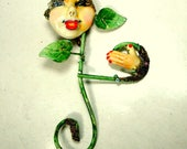 Handmade Artsy Face Pin, A Girl Flower Brooch, Certainly One of a Kind