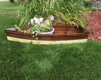 Finished, Nautical wooden outdoor landscape all cedar boat garden box planter lawn or yard ornament decoration