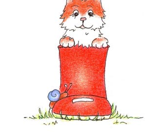 Puss in a wellington boot, Greeting Card, Original Illustration Print, Birthday Card, Notelet, Blank Card
