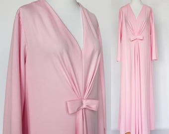 70s  Maxi Dress / Pink Polyester Knit / Draped Styling / Tent Dress / Long Sleeved Dress / XXL