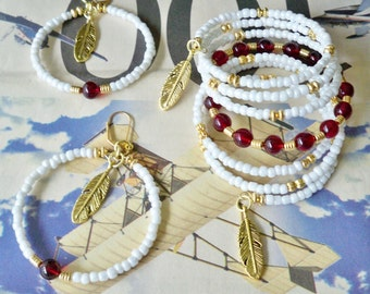 Set - Wrap Bracelet and Hoop Earrings - White seed beads - Garnet & Gold beads - Feather charms - FSU college colors - Noles - bycat