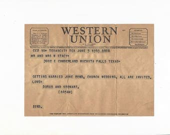Vintage Telegram, Wedding Invitation, Wedding Memorabilia, Souvenir Western Union Telegram and Receipt, 1940s Paper Ephemera