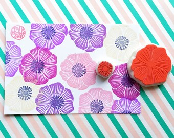 anemone flower rubber stamp. wildflower stamp. botanical hand carved rubber stamps. wedding stationery. birthday scrapbooking. set of 2