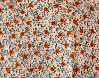 vintage floral fabric - 1960s 1970s ribbed cotton feel in orange and blue - 35 by 75 inches