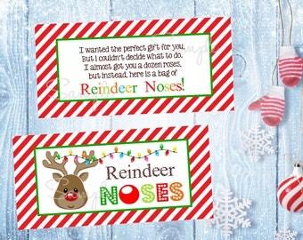 Reindeer Noses Favor Bag Toppers, Instant Download Reindeer Toppers, Printable Reindeer Noses Favor Bags, Reindeer Gift Bags
