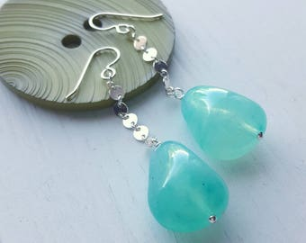 nugget earrings - vintage lucite and sterling silver chain - teal green - chunky lightweight aqua