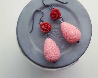 let them eat cake - earrings - carved resin, sterling silver - pink, red, rose, floral, flower earrings