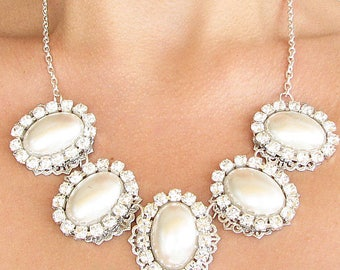 Bridal Jewelry Statement Necklace Pearl Wedding Jewelry Wedding Necklace Bridal Necklace Bridesmaid Jewelry