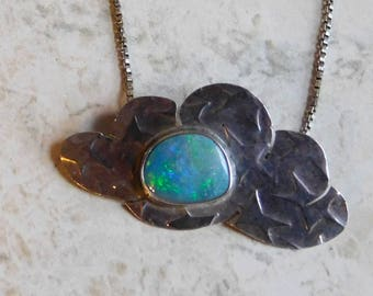Vintage Opal and Sterling Silver Pendant Necklace - Freeform Fiery Blue-Green Opal Cabochon Set in Cloud-Shaped Silver w/ Embossed Stars