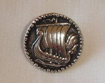 Norwegian Pewter Button with Viking Ship - one piece Tin Button