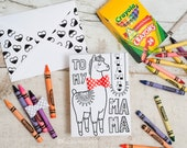 Llama Mama Mother's Day Card INSTANT DOWNLOAD Coloring page printable craft classroom daycare activity. With Optional 3D Bow Cute Funny