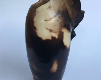 Smoke fired sculptural vessel