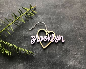 Brooklyn Heart Christmas Ornament - Choose your color! | Christmas Ornament | Housewarming Gift | Christmas Gift | Brooklyn Heart | BKLYN