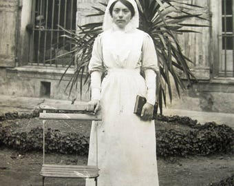 Antique Victorian nurse real photograph, French nurse photograph, Antique nurse RPPC, Antique Victorian social history photograph
