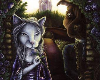 Beauty and the Beast, Cat and Dog Fairytale 8x10 Fine Art Print