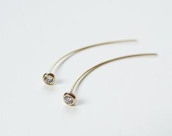 White Topaz Spike Earrings OOAK Gold Filled