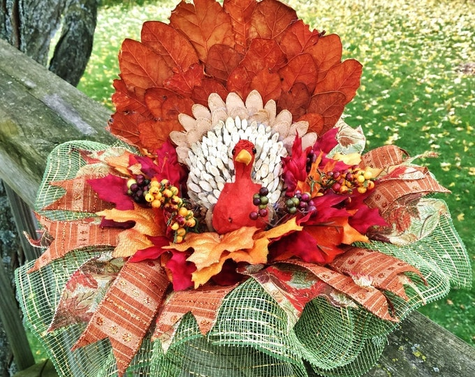SALE- Turkey & Fall Leaves - Fall Thanksgiving Centerpiece