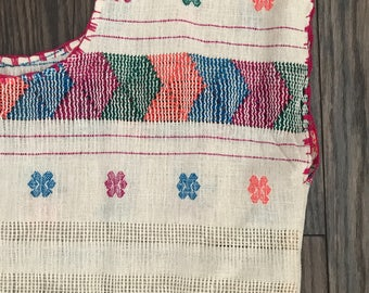 The Vintage Neon Oaxacan Embroidered  Boho Dress with Fringe at Bottom