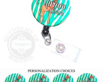 "1 1/2"" Design Badge Reel - Personalized Giraffe on Turquoise Zebra Stripes Nurse Retractable Lanyard ID Holder (A451)"
