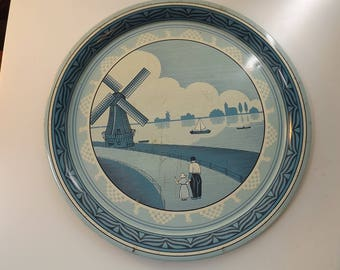 Antique TIN Plate Made in England Dutch Windmill Scene in Blues