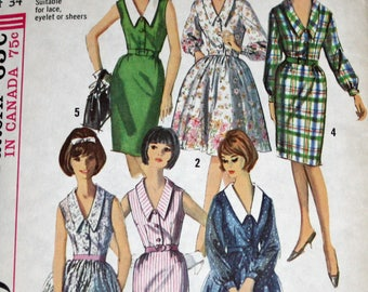 Vintage 1960s Sewing Pattern, Simpliicity 5822, Misses' Dress, With Two Skirts and Detachable Collar, Misses' Size 14, Bust 34""