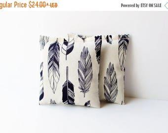 SALE Gift for Women, Bird Feather Lavender Sachets, Natural & Indigo Gypsy Boho Chic Tribal Decor