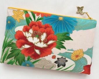 Upcycled Vintage Kimono & Obi Zipper Pouch / Cosmetic Pouch - Peony