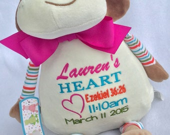 Personalized Stuffed Animal, Heart Warrior CHD, Heart Surgery Gift, Baby, Child, Gift, Plush Toy, CHD